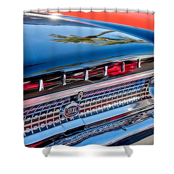 1963 Ford Galaxie 500XL Taillight Emblem Shower Curtain by Jill Reger