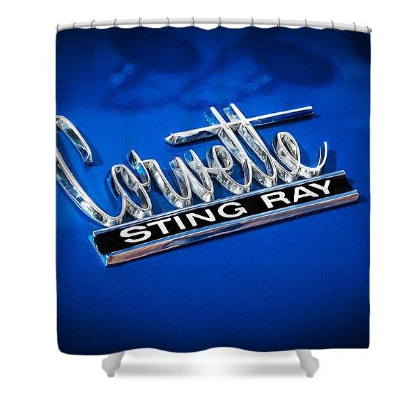 1966 Chevrolet Corvette Coupe Emblem Shower Curtain by Rich Franco