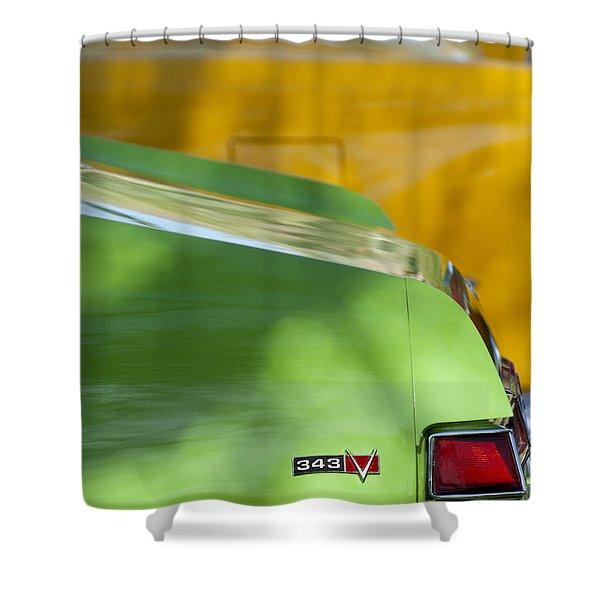 1969 AMC Javelin SST Taillight Emblem Shower Curtain by Jill Reger