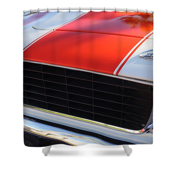 1969 Chevrolet Camaro Rs-ss Indy Pace Car Replica Grille - Hood Emblems Shower Curtain by Jill Reger