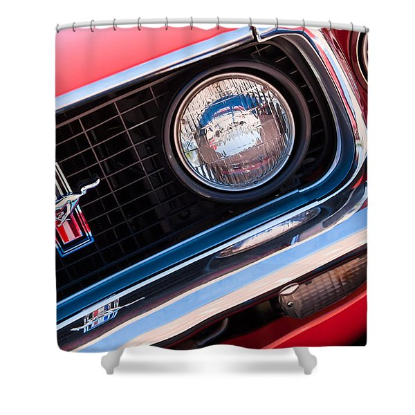 1969 Ford Mustang Boss 429 Grille Emblem Shower Curtain by Jill Reger