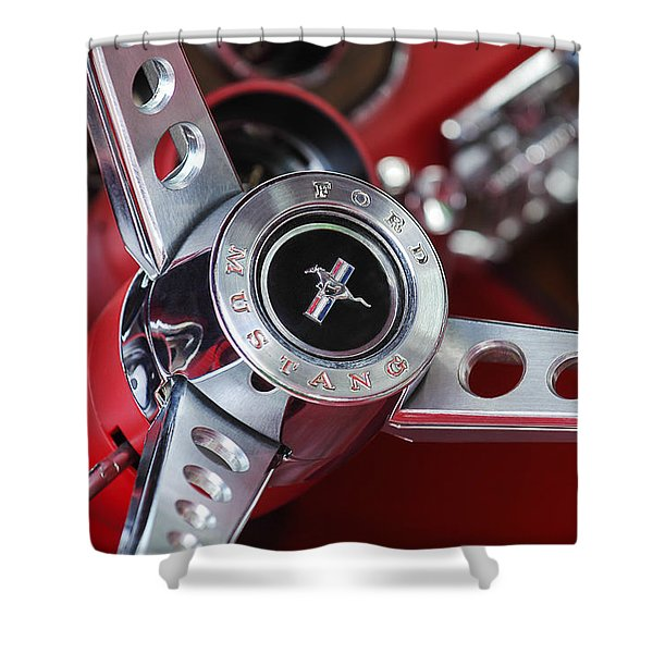 1969 Ford Mustang Mach 1 Steering Wheel Shower Curtain by Jill Reger