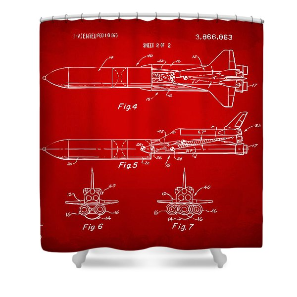 1975 Space Vehicle Patent - Red Shower Curtain by Nikki Marie Smith