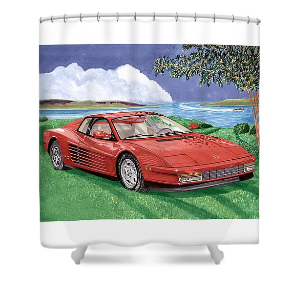 1987 Ferrari Testarosa Shower Curtain by Jack Pumphrey