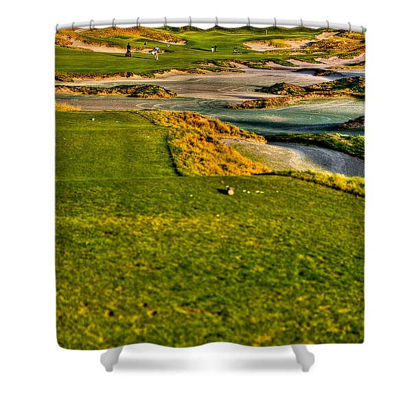 #18 at Chambers Bay Golf Course - Location of the 2015 U.S. Open Tournament Shower Curtain by David Patterson