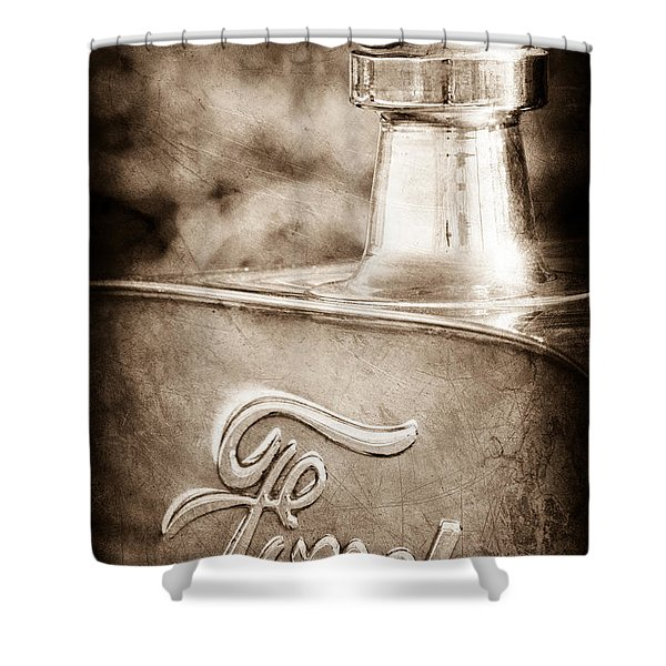 1911 Ford Model T Torpedo 4 cylinder 25 HP Hood Ornament - Emblem Shower Curtain by Jill Reger