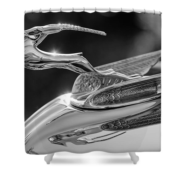 1933 Chrysler Imperial Hood Ornament -0484BW Shower Curtain by Jill Reger