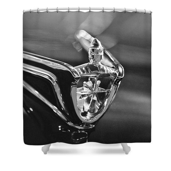 1956 Lincoln Premiere Convertible Hood Ornament Shower Curtain by Jill Reger