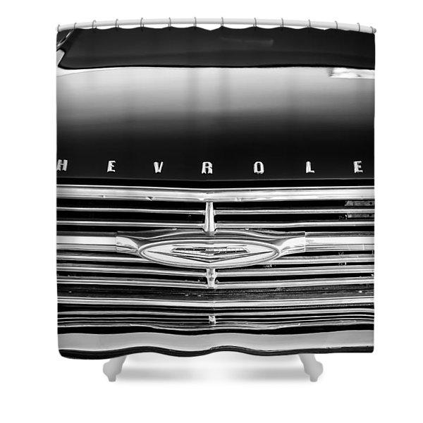 1960 Chevrolet El Camino Grille Emblem Shower Curtain by Jill Reger