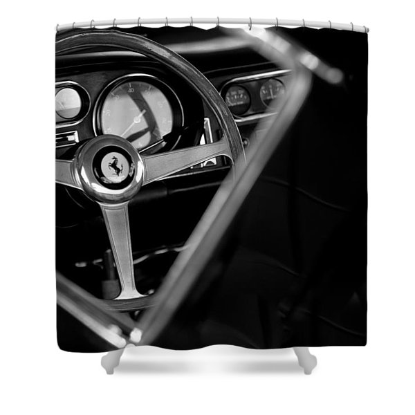 1967 Ferrari 275 GTB 4 Steering Wheel Emblem Shower Curtain by Jill Reger
