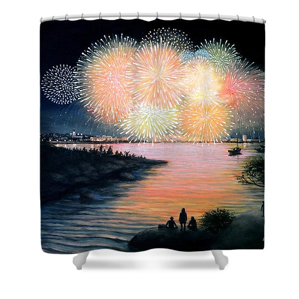 4th of July Gloucester Harbor Shower Curtain by Eileen Patten Oliver