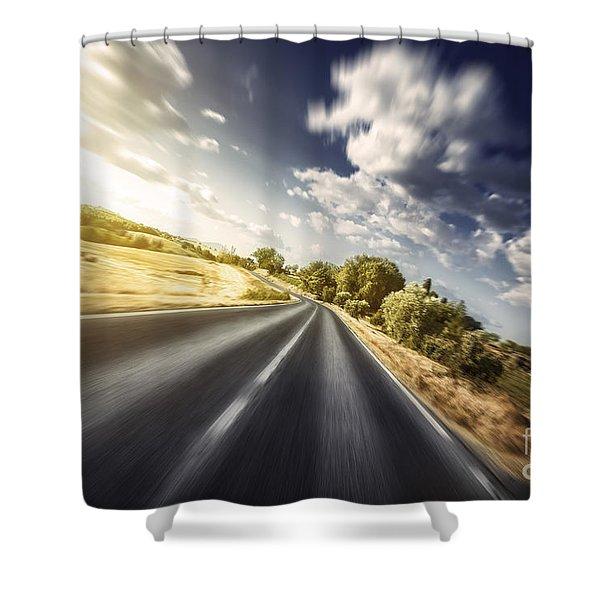 Asphalt Road In Field Against Moody Shower Curtain by Evgeny Kuklev