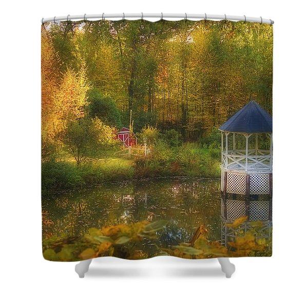 Autumn Gazebo Shower Curtain by Joann Vitali