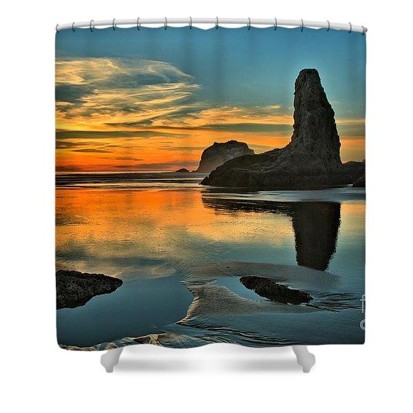 Bandon Beach Sunset Shower Curtain by Adam Jewell