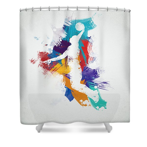 Basketball Player Shower Curtain by Aged Pixel