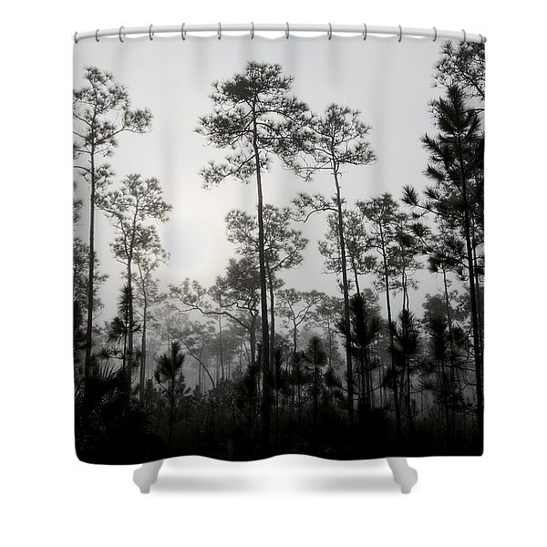Early Morning Fog Landscape Shower Curtain by Rudy Umans