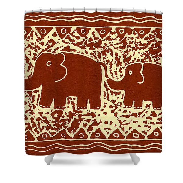 Elephant and calf lino print brown Shower Curtain by Julie Nicholls