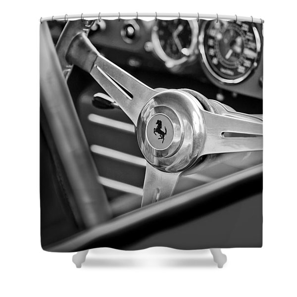 Ferrari Steering Wheel Shower Curtain by Jill Reger