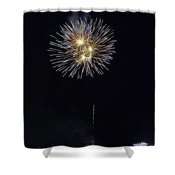 Fireworks Shell Burst over the St Petersburg Pier Shower Curtain by Jay Droggitis