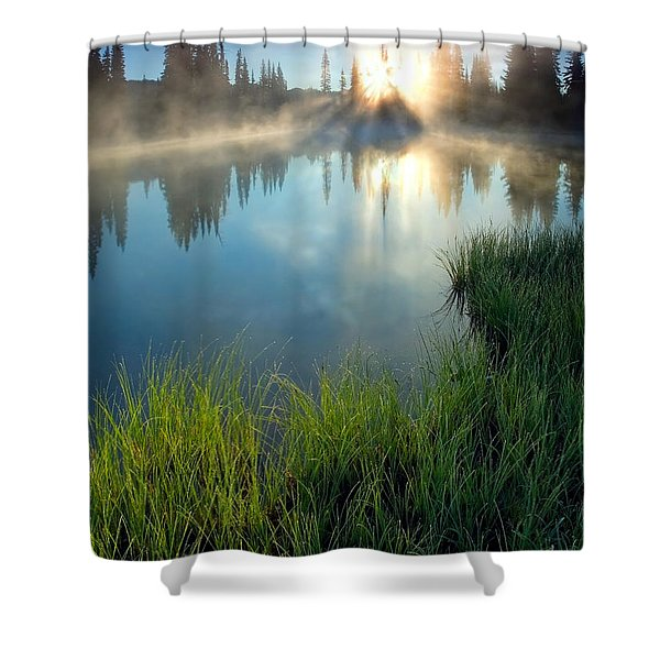 First Light Shower Curtain by Mike  Dawson
