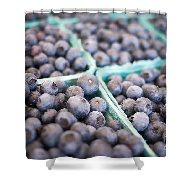 Fresh Blueberries Shower Curtain by Edward Fielding