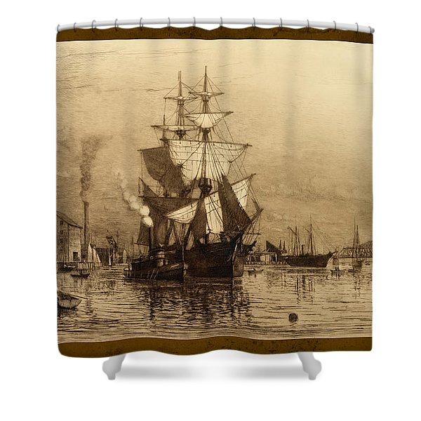 Historic Seaport Schooner Shower Curtain by John Stephens
