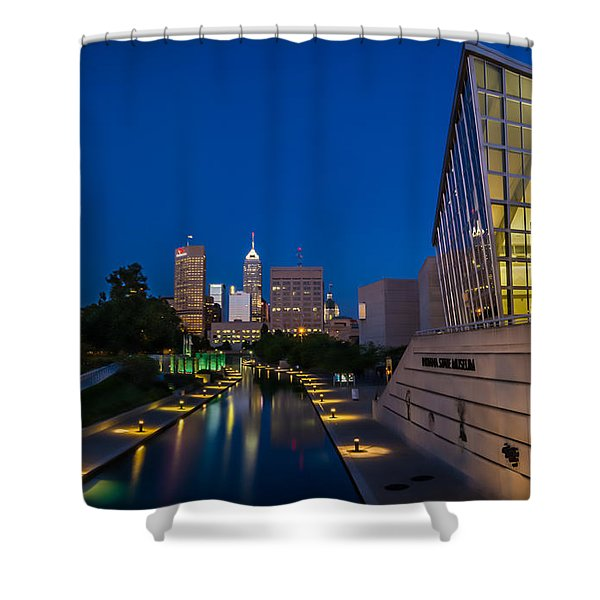 Indianapolis Skyline From The Canal At Night Shower Curtain by Ron Pate