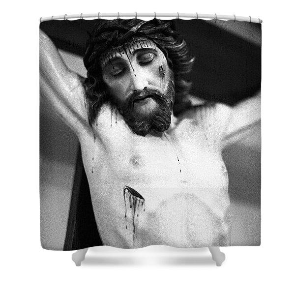 Jesus On The Cross Shower Curtain by Gaspar Avila
