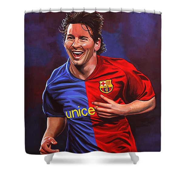 Lionel Messi Shower Curtain by Paul  Meijering