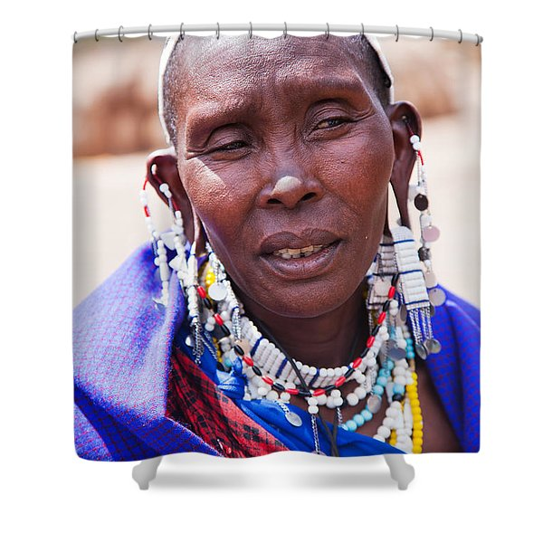 Maasai Woman Portrait In Tanzania Shower Curtain by Michal Bednarek