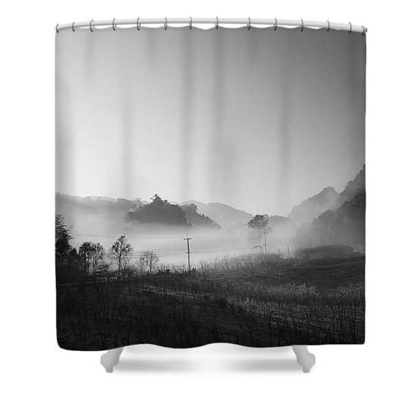 mist in the valley Shower Curtain by Setsiri Silapasuwanchai