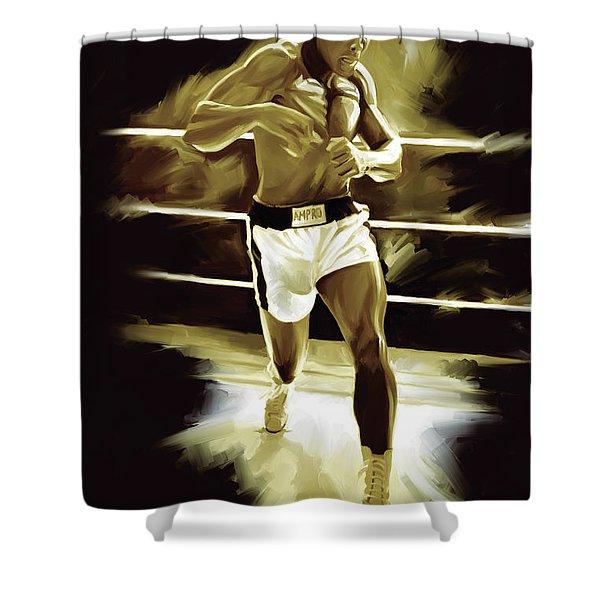 Muhammad Ali Boxing Artwork Shower Curtain by Sheraz A