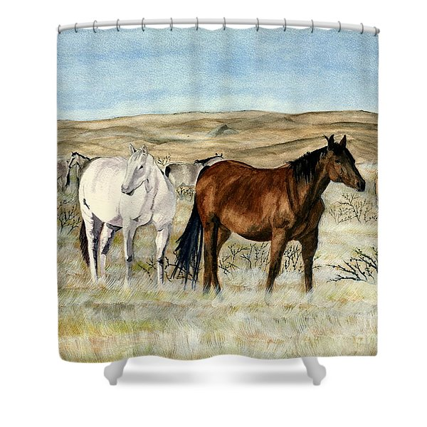 Nine Horses Shower Curtain by Melly Terpening