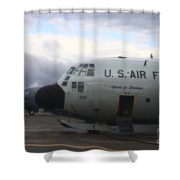 Nose Cone Detail On A Lc-130h Aircraft Shower Curtain by Timm Ziegenthaler