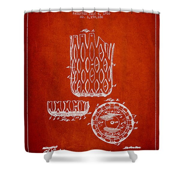 Poll Table Pocket Patent Drawing From 1916 Shower Curtain by Aged Pixel