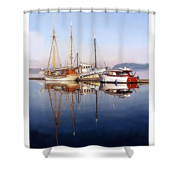 Reflections Port Orchard Marina Shower Curtain by Jack Pumphrey