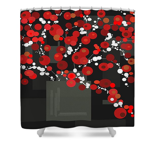 Red Flowers Shower Curtain by Val Arie