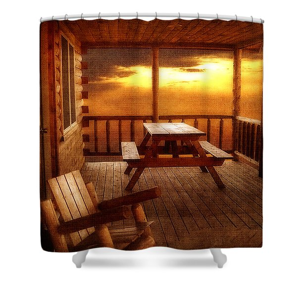 The Cabin Shower Curtain by Joann Vitali