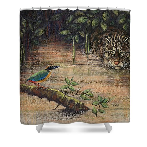 Treading Water Asian Fishing Cat Shower Curtain by Cynthia House