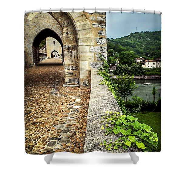 Valentre bridge in Cahors France Shower Curtain by Elena Elisseeva