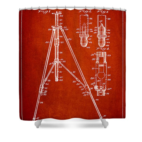 Vintage Tripod Patent Drawing from 1941 Shower Curtain by Aged Pixel