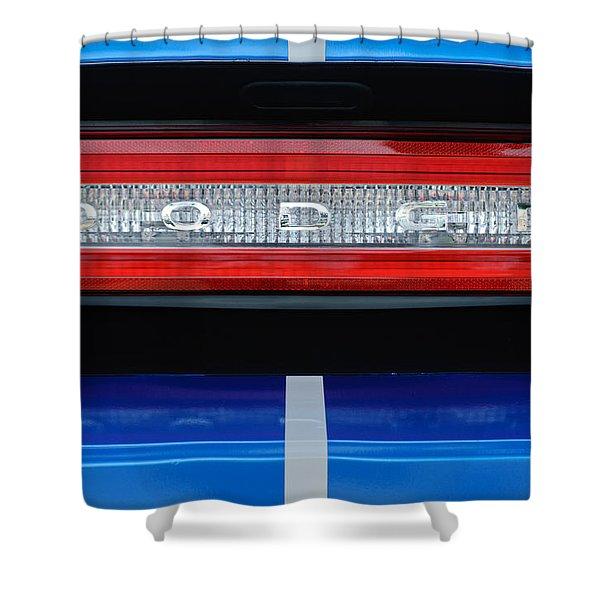 2011 Dodge Challenger RT Hemi Taillight Emblem Shower Curtain by Jill Reger