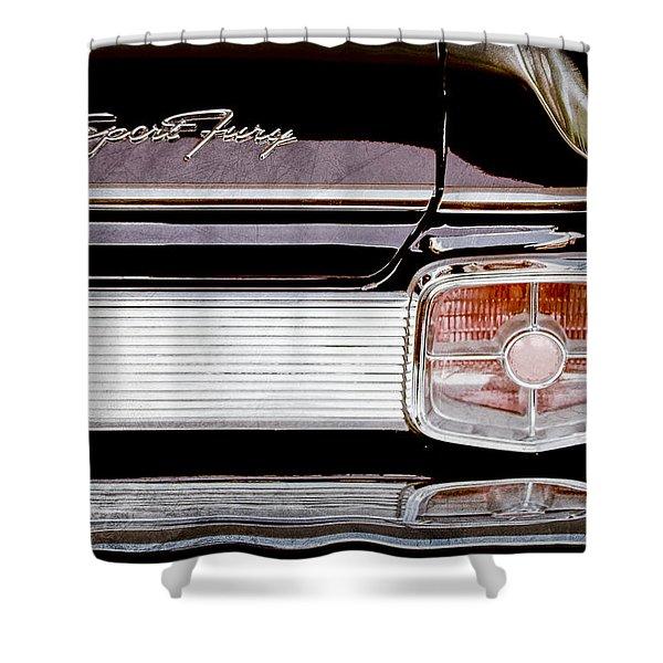 1963 Plymouth Sport Fury Taillight Emblem Shower Curtain by Jill Reger