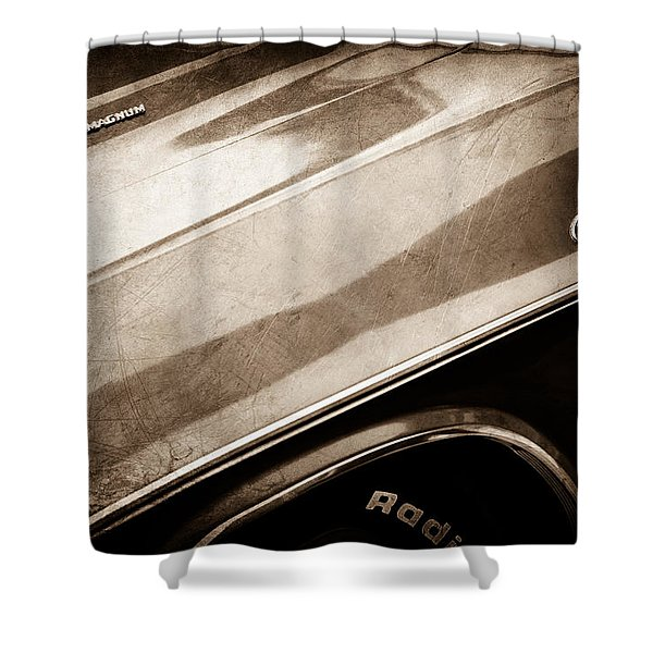 1970 Dodge Challenger Rt Convertible Emblems Shower Curtain by Jill Reger