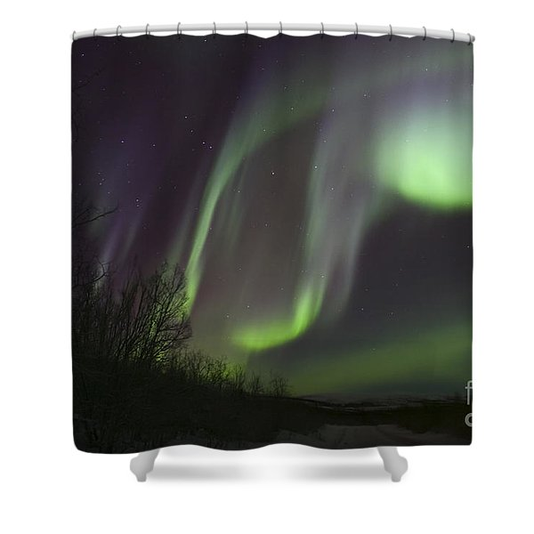 Aurora Borealis By Fish Lake Shower Curtain by Joseph Bradley