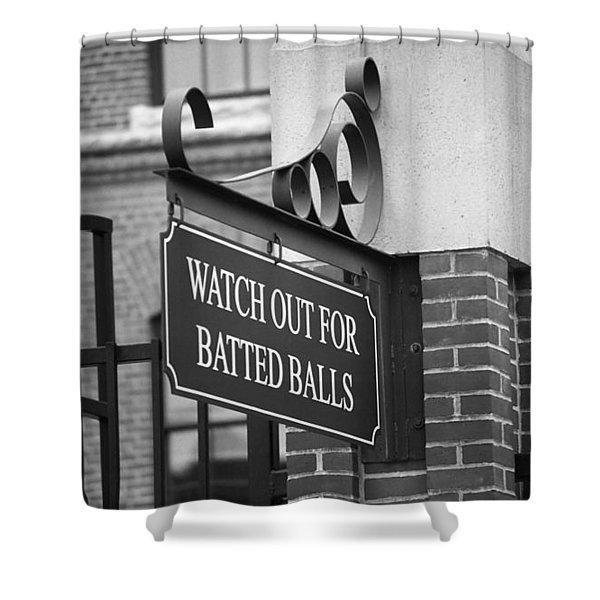 Baseball Warning Shower Curtain by Frank Romeo