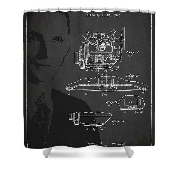 Henry Ford Engine Patent Drawing From 1928 Shower Curtain by Aged Pixel