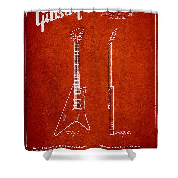 McCarty Gibson stringed instrument patent Drawing from 1958 - Red Shower Curtain by Aged Pixel