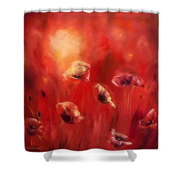 Shower Curtains - Poppies Shower Curtain by Gina De Gorna