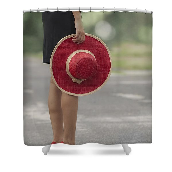 Red Sun Hat Shower Curtain by Joana Kruse